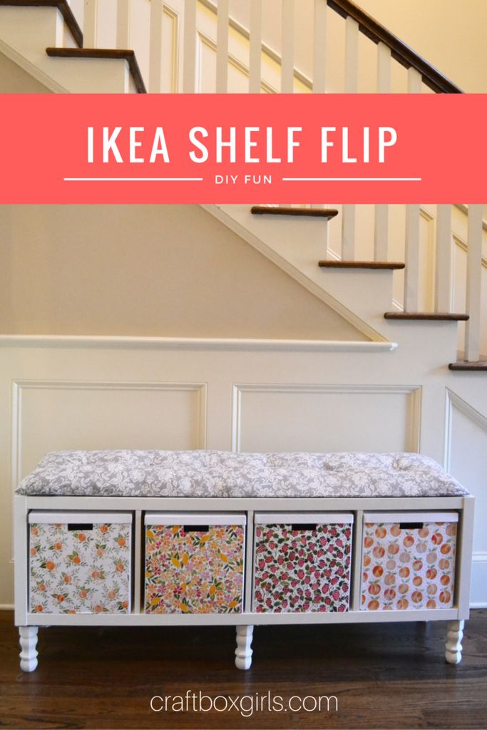 Flip that old bookshelf into functional storage bench! Great as a window seat, at the end of your bed or in your child's room!
