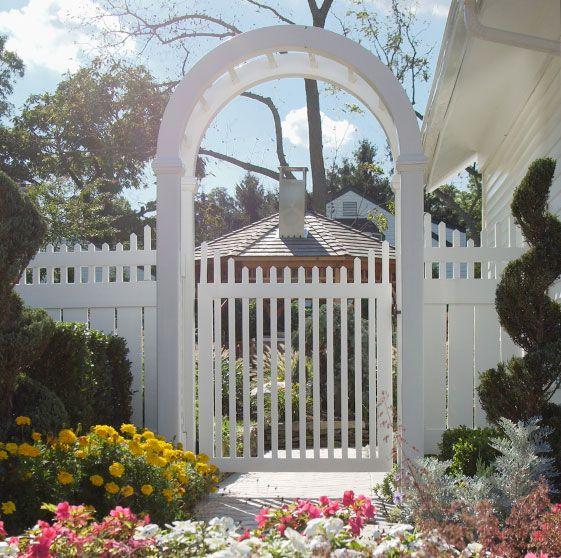 Fence Gate Arbor: White Picket Fence & Gate W/ Arbor