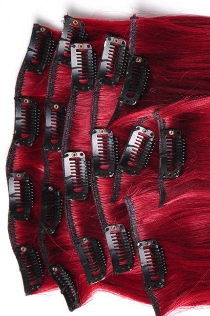 50cm 115g kirschrote Haarverlaengerung Clip in Echthaar Extensions deso520 | red hair