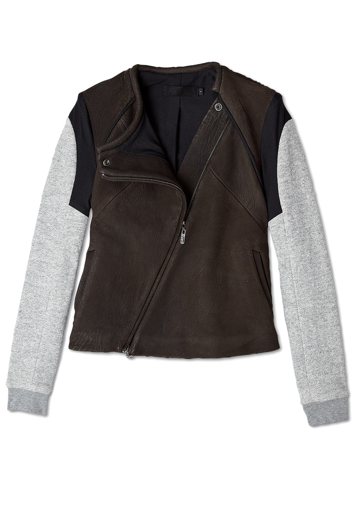Leather And Cotton Bomber Jacket ,Francis Leon