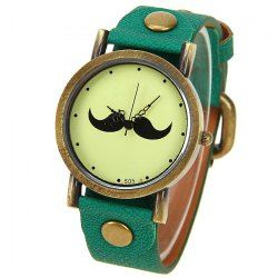 $3.96 Quartz Watch with Dots Indicate Mustache Patterned Leather Watchband for Unisex - Green