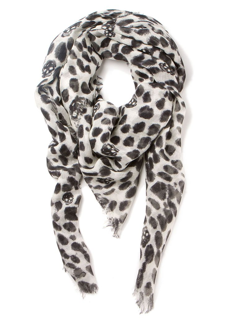 Alexander McQueen Scarves :: Alexander McQueen black and white leopard and skull printed scarf   Montaigne Market
