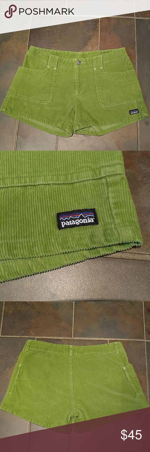 Vintage Patagonia Corduroy Shorts Green Patagonia shorts with lathe pockets, belt loops and zipper fly! Pre-loved but in great condition! Patagonia Shorts