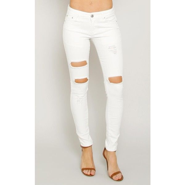 Monkey Ride White Distressed Cutout Skinny Jeans ($35) ❤ liked on Polyvore featuring jeans, white destroyed, tapered jeans, ripped jeans, skinny jeans, distressed jeans and white distressed jeans