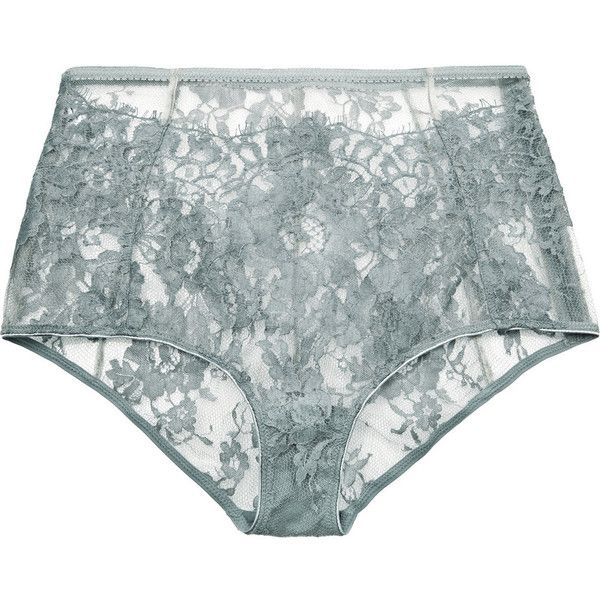 I.D. Sarrieri High-rise Chantilly lace briefs ($113) ❤ liked on Polyvore featuring intimates, panties, underwear and grey