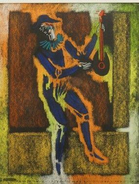 Dancing man with mandolin