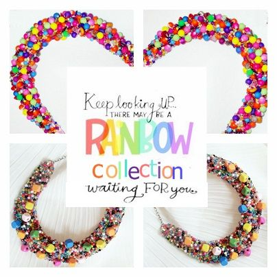 Keep looking UP... there may be a #RAINBOWCollection waiting for you... #UniqueByMonique ~ Rainbow statement necklace ~  Product: Unique by Monique  ~Jewelry Handmade https://www.pinterest.com/no1Unique/