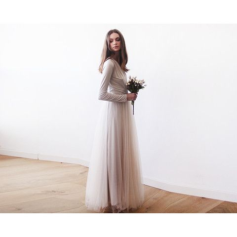 Champagne maxi tulle gown with long sleeves , Bridesmaids maxi champagne dress