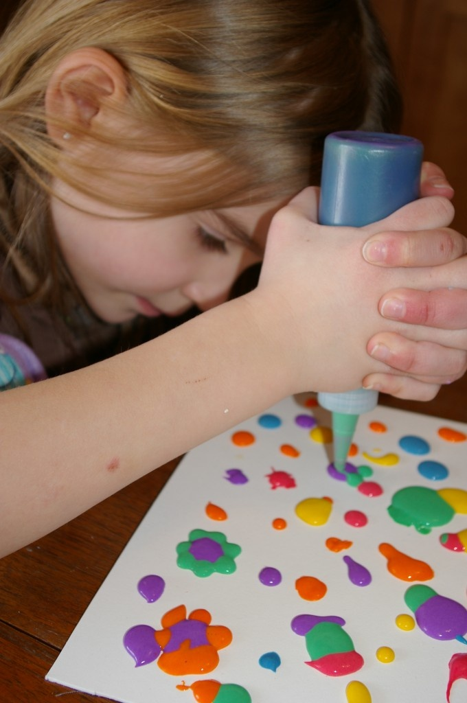 """DIY Paint --- Starts out """"wet"""" then microwaves to a puffy paint. :0) All you need is: 1/2 cup flour 2 tsp baking powder 2 tsp salt food coloring Enough water to make a paste Cardboard or mat board"""