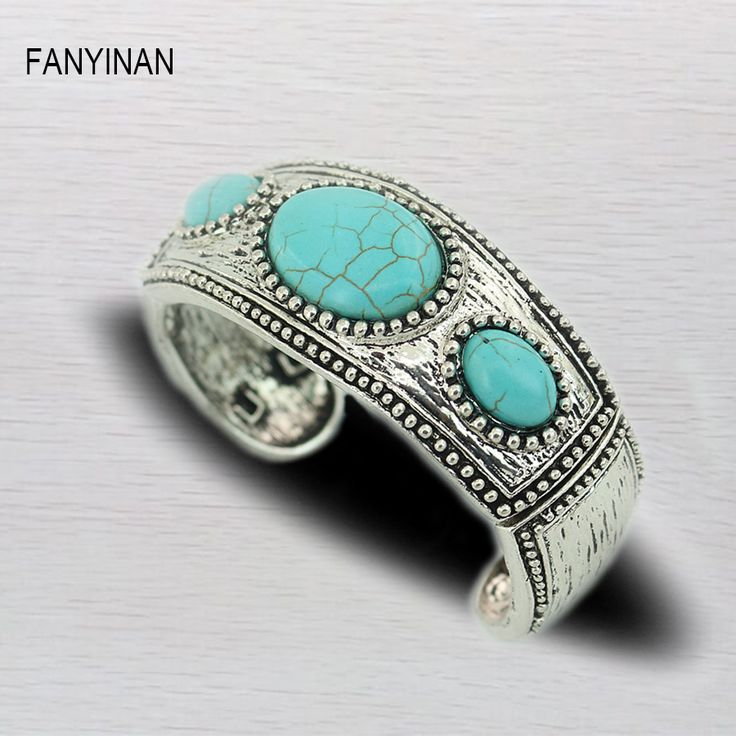 FANYINAN New fashion green stone  Bracelets&Bangles for Women Vintage green men Silver Chain StatementStones Jewelry Gift