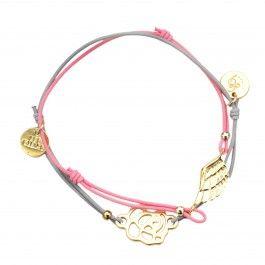 Parisien Bracelets - Grey & Pink - Gold Charms - Les Cleias $9.95
