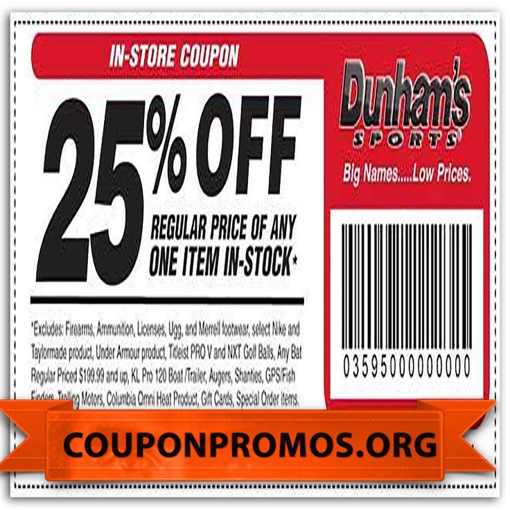 Dunham's Sports also sells outdoor accessories, from apparel, to tents, to kayaks for rivers and lakes alike. Use Dunham's Sports online coupons for fitter prices on sporting equipment, including: Baseball bats, gloves, tees, cleats, and baseballs; Football helmets, jerseys, pants, cleats, and footballs.