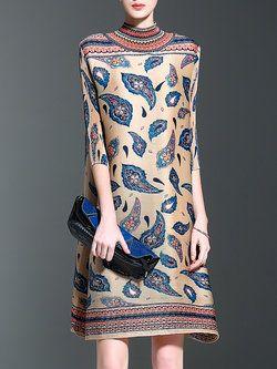 Floral Print Turtleneck Vintage 3/4 Sleeve Midi Dress