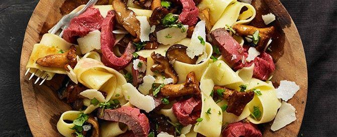 1. Pappardelle met Ierse rosbief en paddenstoelen - Irishbeef