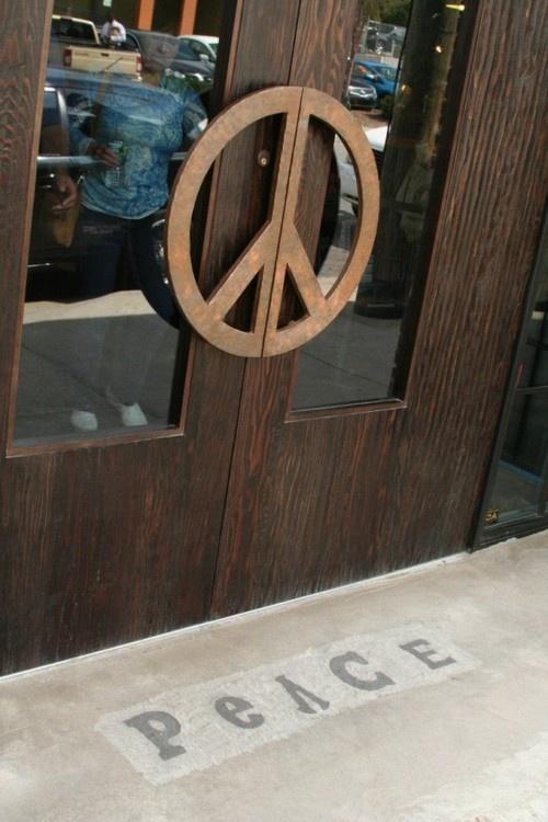 peace sign  door