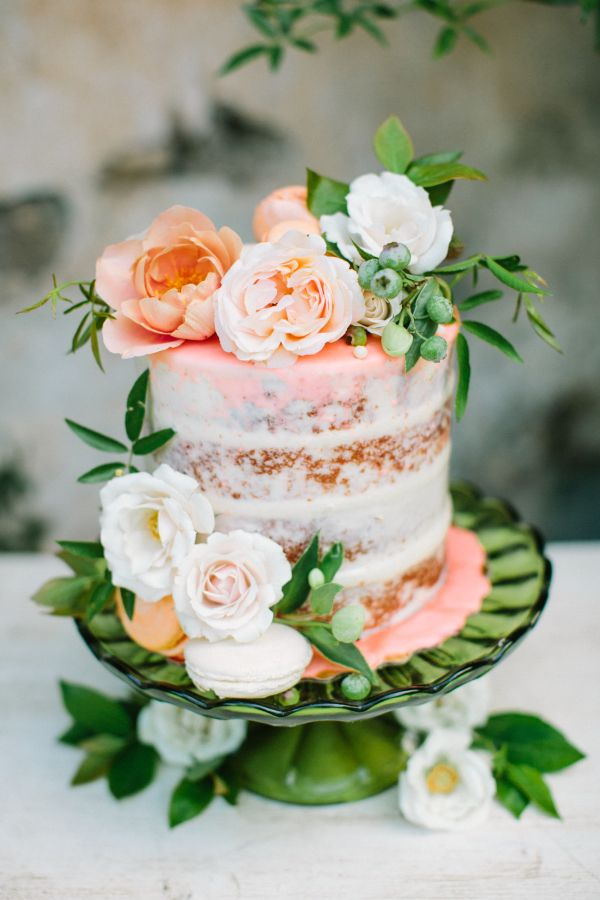 Modern rustic wedding cake topped with roses: http://www.stylemepretty.com/california-weddings/san-marino-california/2016/10/17/floral-filled-spring-wedding-inspiration/ Photography: Birds of a Feather - http://birdsofafeatherphoto.com/