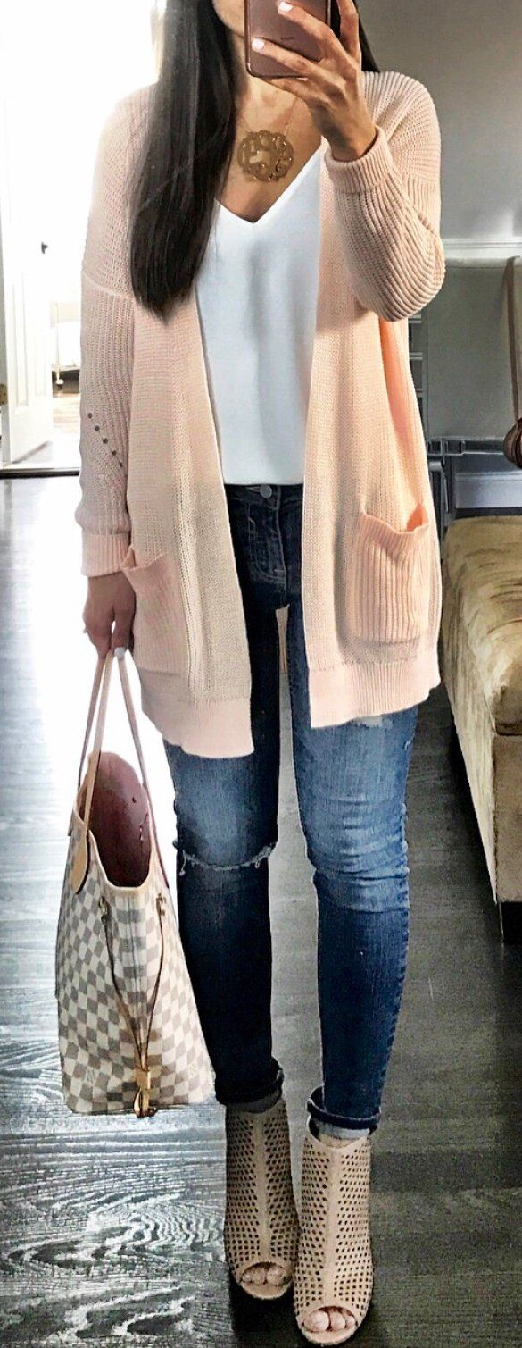#spring #outfits Coral Cardigan & White Top & Bleached Skinny Jeans & White & Grey Checked Tote Bag