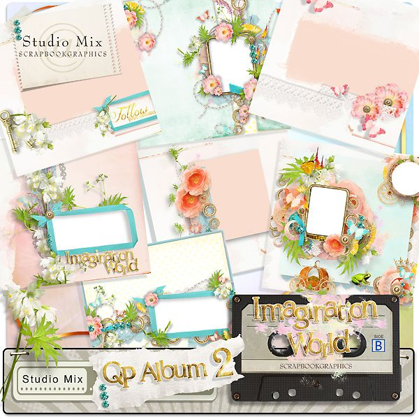 """Imagination World - QP Album 02""  http://shop.scrapbookgraphics.com/Studio-Mix-50-Imagination-World-QP2.html"