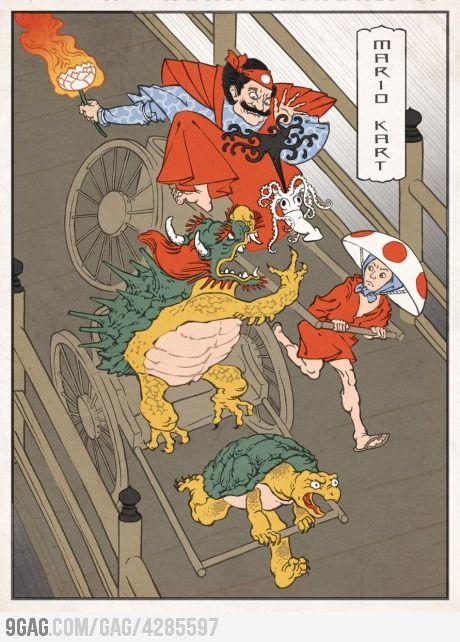 Mario Asian styleWood Block, Japan Prints, Mario Kart, Block Prints, Videos Games, Japan Art, Mariokart, Mario Bros, Super Mario