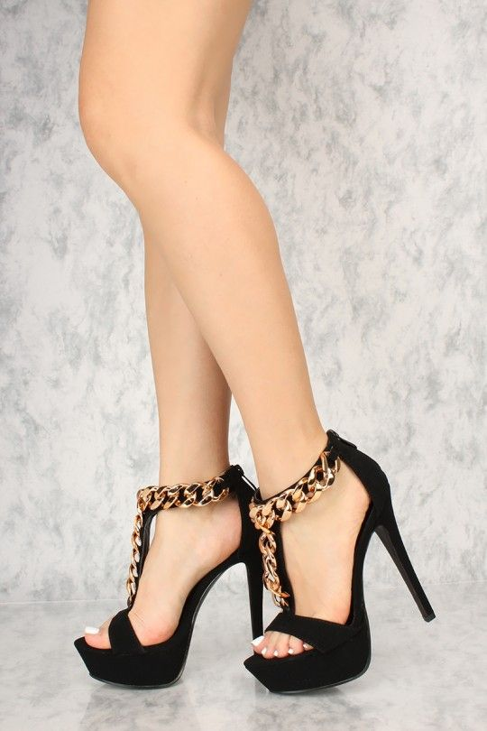 e4112ab0fa0c7 Ankle Strap Heels · These sexy platform heels features a faux leather  material, high polish chain link, open