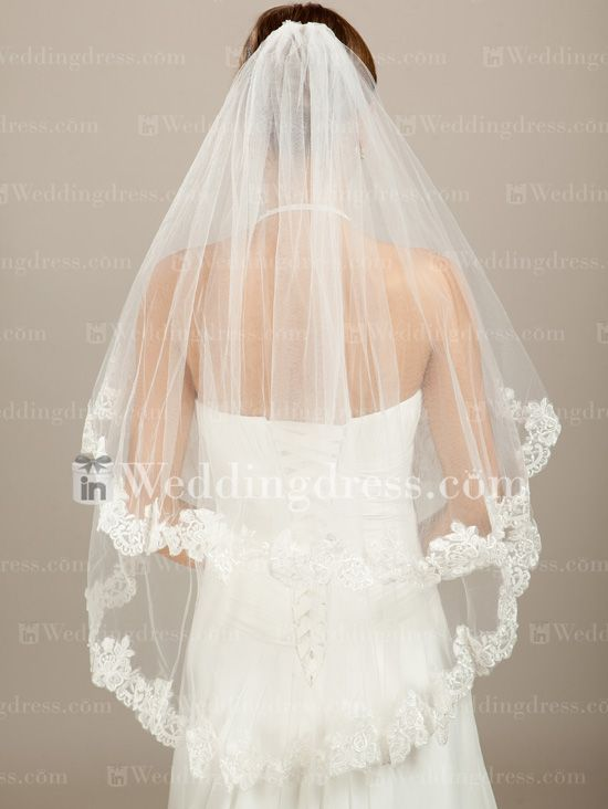 Vintage Bridal Veil -two teir lace edge $50