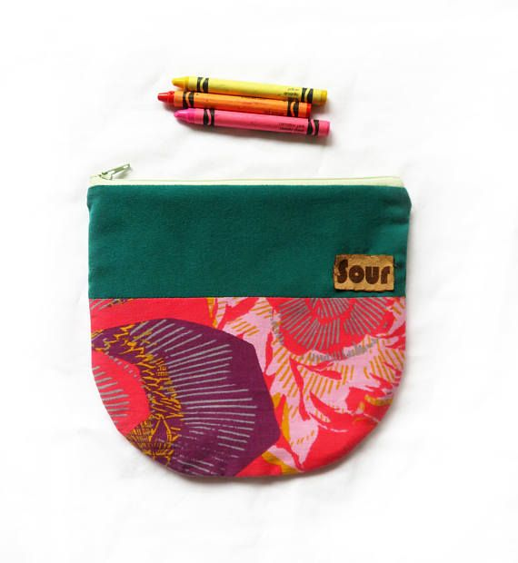 Otherwise Wild// Teal and Pink Print Zipper Pouch with