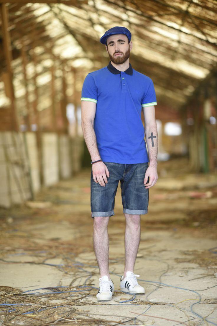 Splendid SS 2018 collection polo t- shirt and denim bermuda shorts.