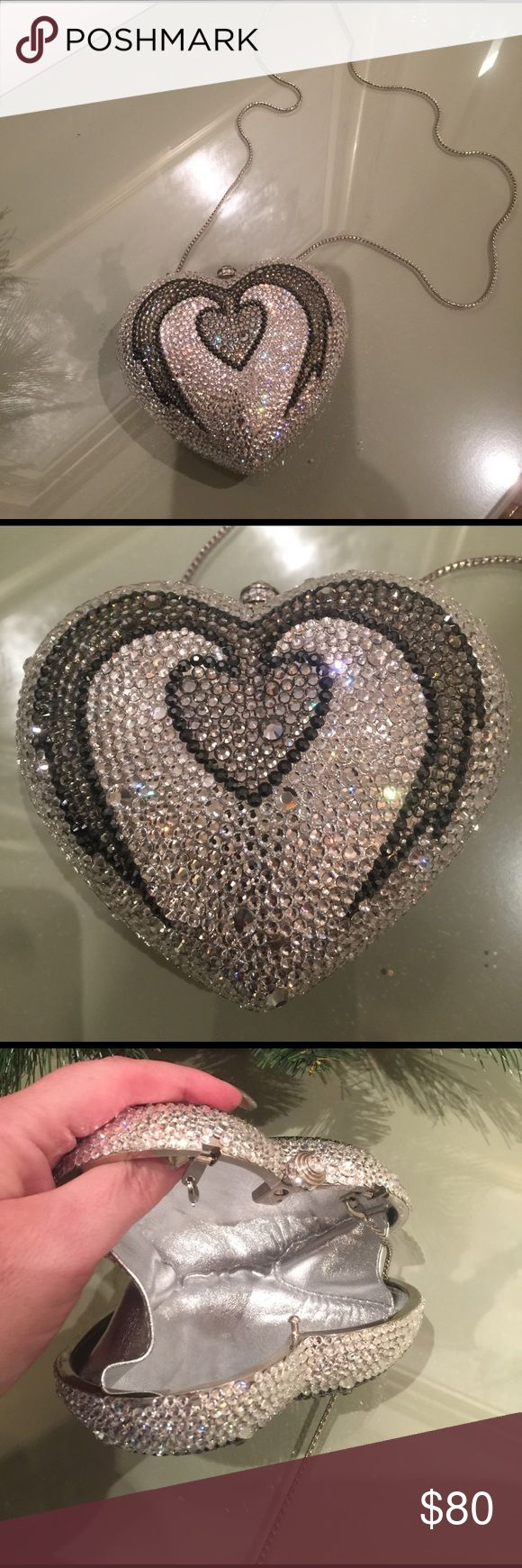 Heart Shaped Crystal Sparkler Evening Described in photos above, no crystals missing.  Can be used as clutch or shoulder.  Perfect for weddings, proms, or just an evening out dancing. Bags