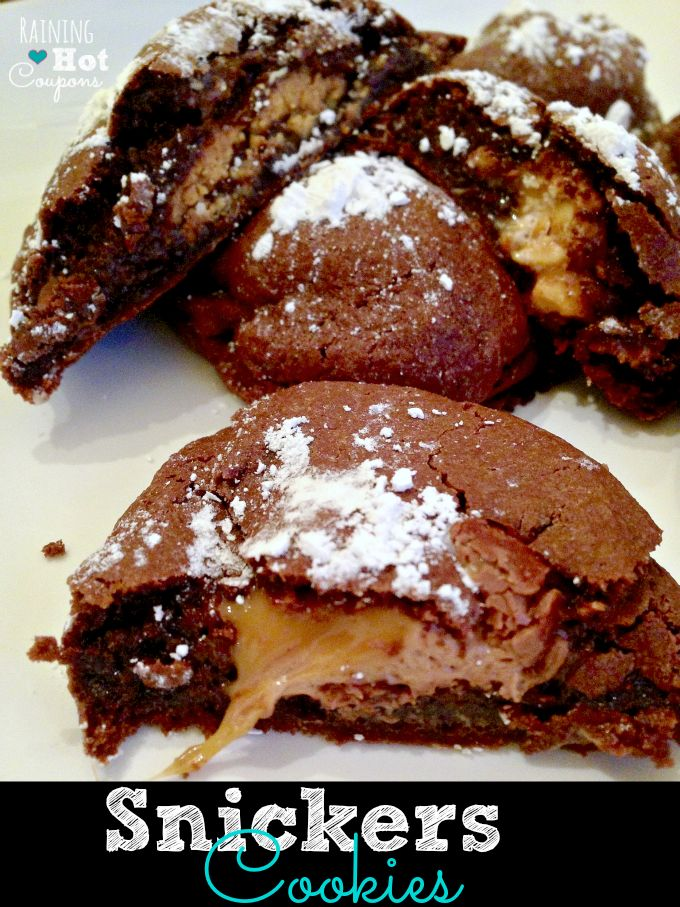 Snickers Cookies Recipe - Only 4 ingredients!! I used 1 11 0z bag of fun size snickers and cut them in half~had the perfect amount.