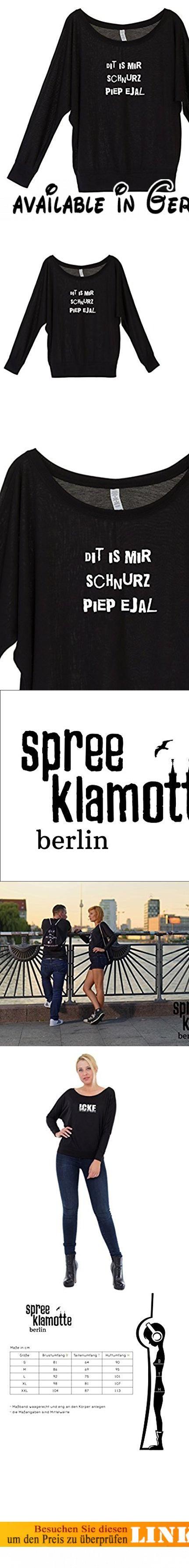 Longsleeve Damen mit coolem Berlin Spruch - Schnurz - vom Label SPREEklamotte / Funshirt Langarm Lady Shirt Damen / schulterfrei u-boot-ausschnitt Frauen , T-Shirt mit Sprüchen modisch - schwarz XL. BERLIN - Dit is ne Stadt! Aufregend, bunt, pulsierend, im ständigen Wandel, mal ranzig, mal schick, sie feiert, sie ist kreativ. Und dabei quatscht sie Dialekt, und zwar vom Feinsten!. SPREEKLAMOTTE: Und so möchten wir hier zwinkernden Auges diese aufregende Mundart hochhalten,