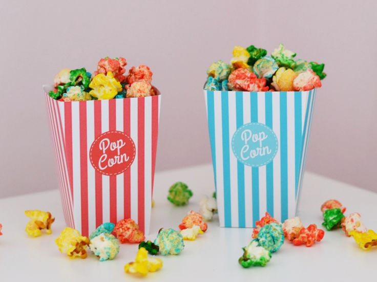 Popcorn box free printable on blog.pluiedeconfe.... As well in light blue and light pink