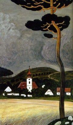 Josef Lada Před bouří 1948 malba kvaš