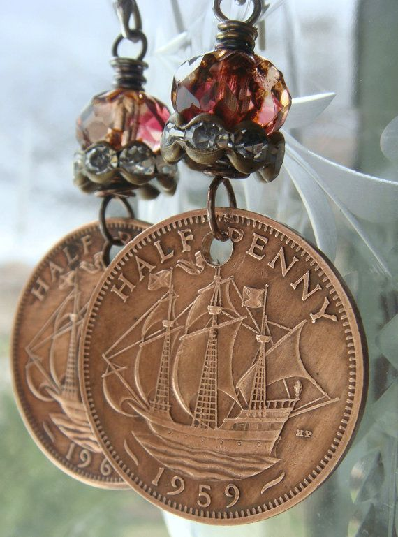 Altered VIntage Half Penny Clipper Ship Coin by CobwebPalace
