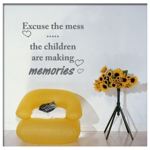 Muursticker Tekst Excuse the mess | Saynomorewebshop.nl