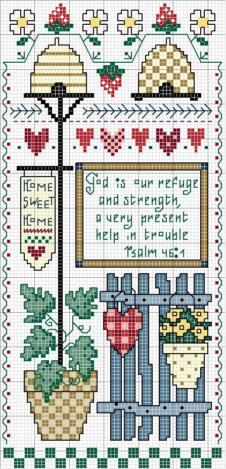 "Cross-stitch Country ""God is.."" ... no color chart available, just use pattern chart as your color guide.. or choose your own colors...  ...   Schema punto croce Nichoirs Country"