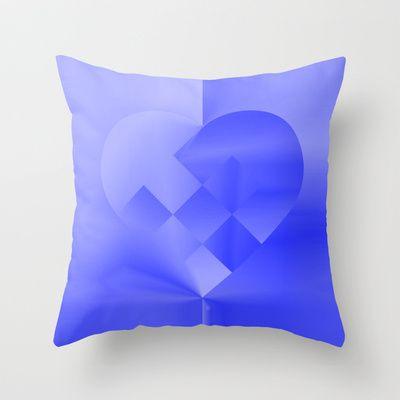 Danish Heart Blues Throw Pillow by Gréta Thórsdóttir - $20.00  #love #heart #girly #Christmas #blue #kids #ombre #pattern #livingroom