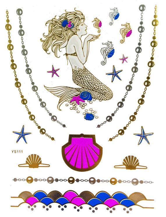 Mermaid Illustrated Metallic Temporary Tattoo by KARIZMAlondon