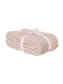 Bobble knit throw, blush