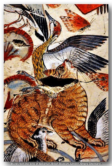 Murals from the tomb of Nebamun, British Museum, London. Love how close up this is. You can really see the detail and how they were deliberately depicting specific species of bird.