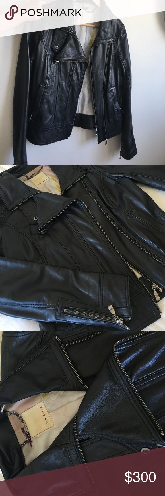 Ted Baker leather jacket, size 2 Size 2, Ted Baker leather jacket. Black with dark silver metal details (zippers, buttons, etc.). Leather is in great condition! Ted Baker Jackets & Coats