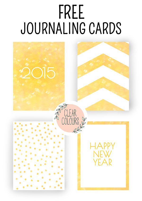 FREE clear colors: Free Journaling Cards: New Year's Eve