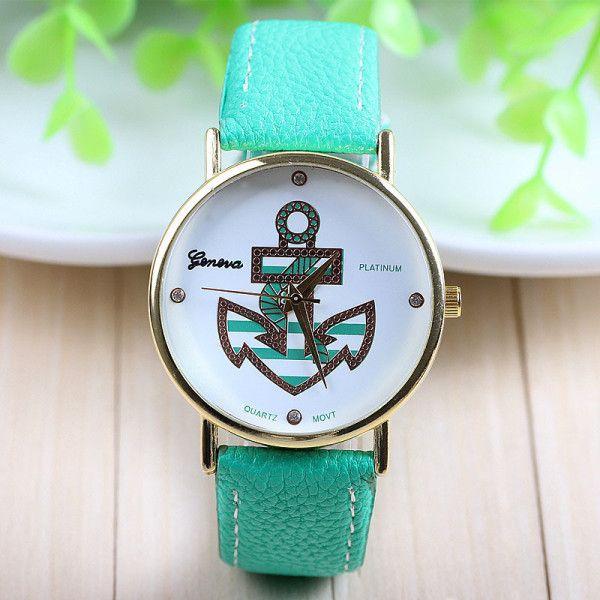 Nautical Theme Ladies Anchor Watch (Turquoise)
