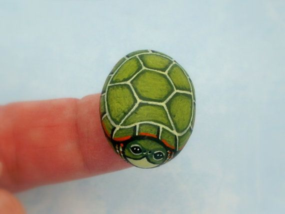 Snapping Turtle mini painted rocks miniature diy by RockArtiste