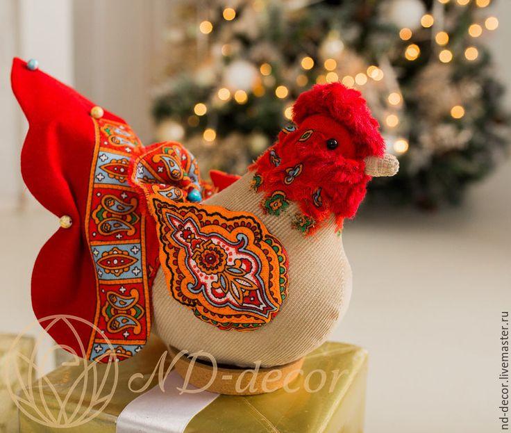 Купить Петух новогодний маленький красно-рыжий Инди,текстильный, интерьерный - петух, петушок