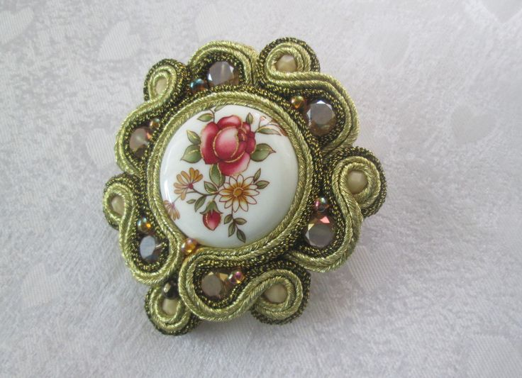 Soutache embroidered brooch with rose by CharmingSoutache on Etsy