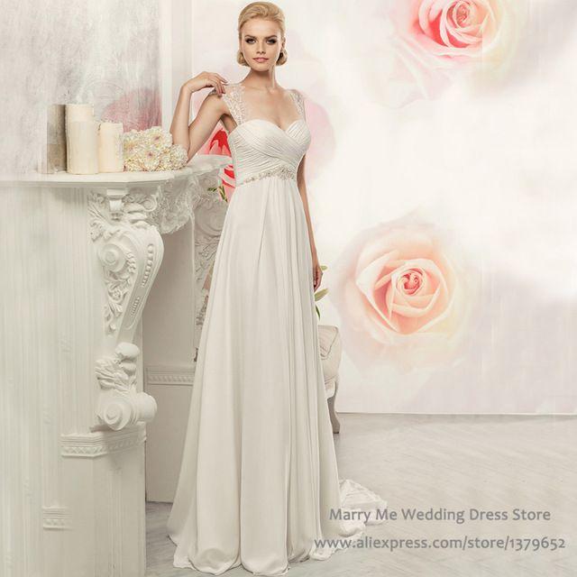 2016 Ivory Boho Wedding Dresses Empire Lace Chiffon