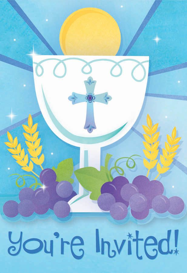 Blue First Communion Invitations