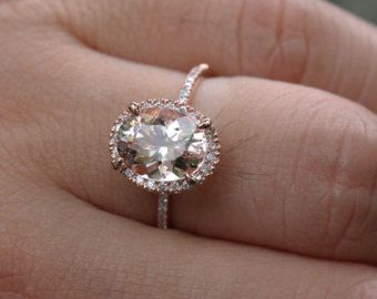 14k Rose Gold 10x8mm Morganite Oval and Diamonds Single Halo Ring (Choose color and size options at checkout)