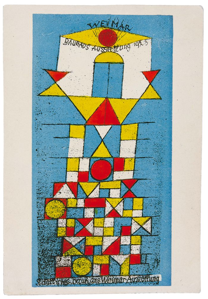 Paul Klee Bauhaus Postcard Featuring The Weimar Exhibition 1923