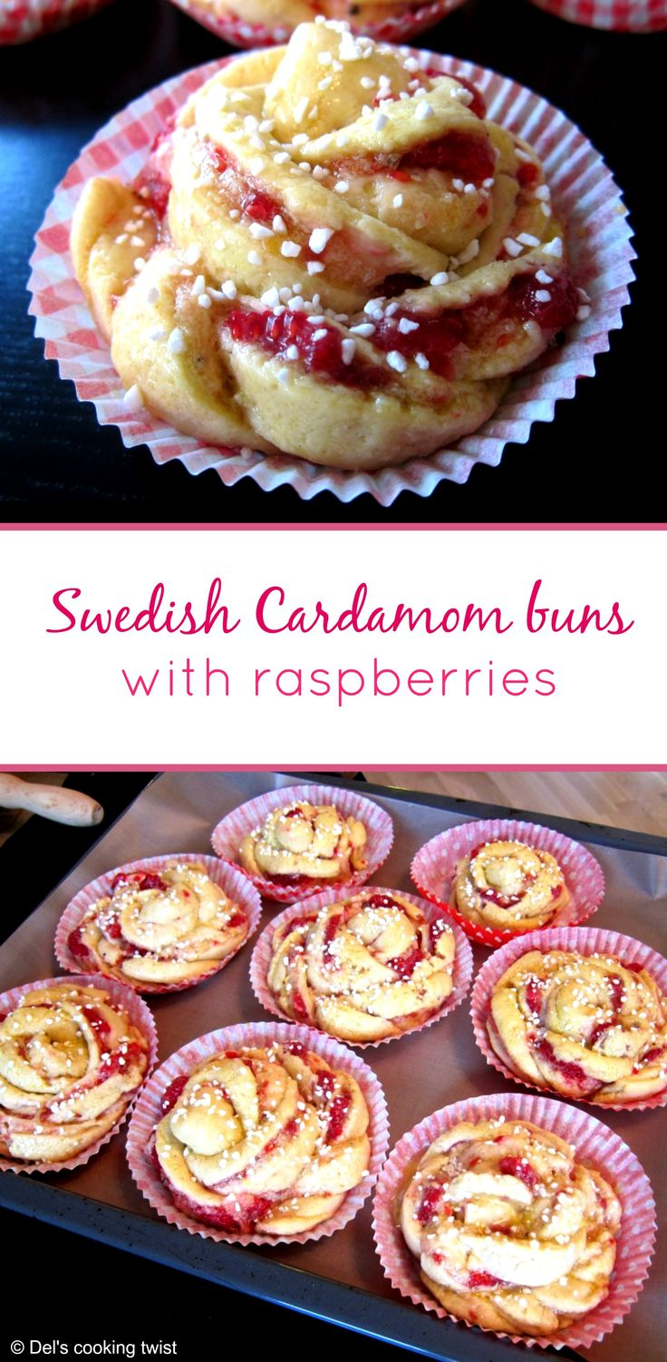 Beautifully shaped Swedish cardamom buns with raspberries. This is heaven! | Del's cooking twist